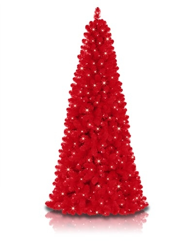 Royal Red Narrow Christmas Tree